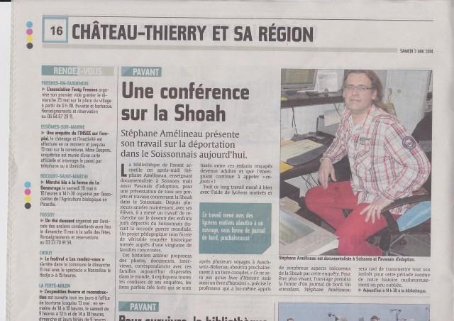 Article de Françoise Delol -  L'Union 3 mai 2014