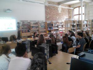 Viviane et mes élèves, pendant la rencontre - 29 mai 2015