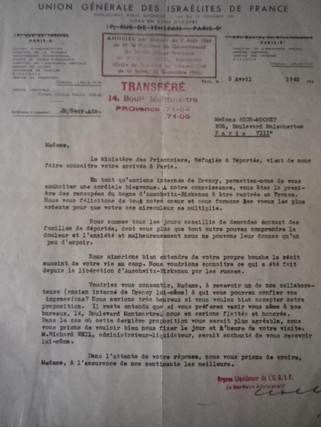 Lettre du 5 avril 1945. Demande auprès de Sophie Bich dit Mochet de l'organe liquidateur de l'UGIF. Sous la pression évidente des proches de ceux qui sont partis dans les convois de Drancy, on lui demande des informations sur ce camp dont les gens commence à entendre parler pour la première fois : Auschwitz-Birkenau.