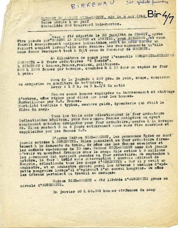 Page 1 du rapport sur les révélations de Sophie Bich dit Mochet à son retour de Birkenau, 1945 (sources : BAVCC)