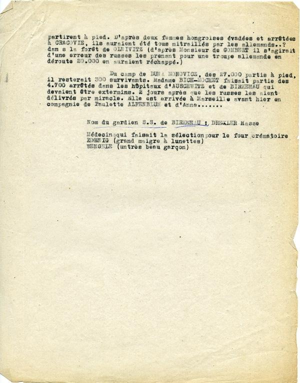 [Doc.4 ] Page 2 du rapport sur les révélations de Sophie Bich dit Mochet à son retour de Birkenau, 1945 (sources : BAVCC)