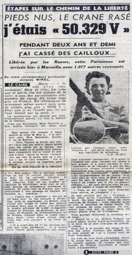 """Extrait de la Une de France-Soir publiée le 25 mars 1945. Article de Jacques Mirel, correspondant au Caire. : """"J'étais 50.329 V"""""""