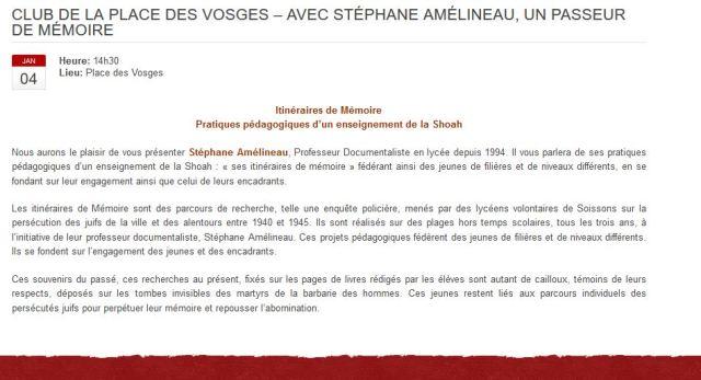 Conférence Place des Vosges 4 janv 2016