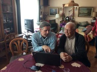 Paul Cégretin et l'auteur à son domicile le 20 avril 2017. [Crédits : Stéphane Amélineau].