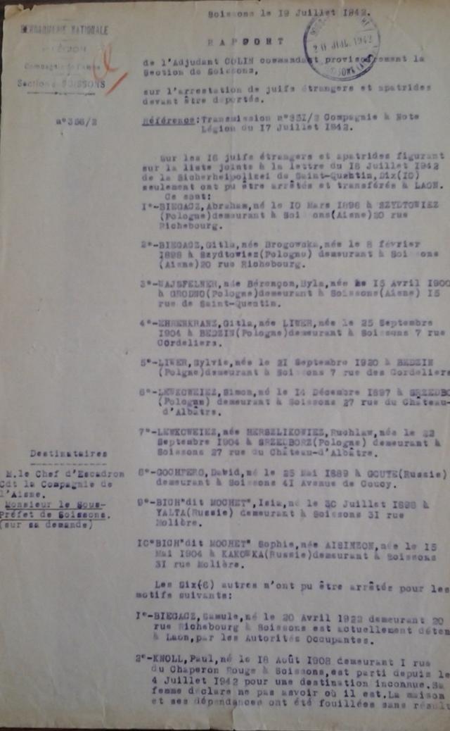 Rapport gendarmerie Soissons page 1 20 juillet 1942
