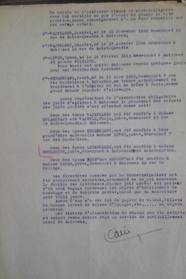 Rapport gendarmerie Soissons page 2 20 juillet 1942